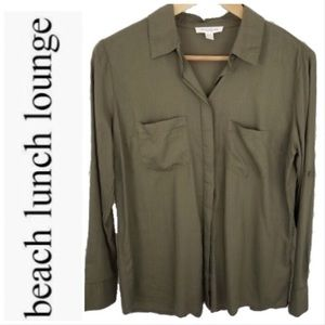 BeachLunchLounge Olive Green Button Down Shirt
